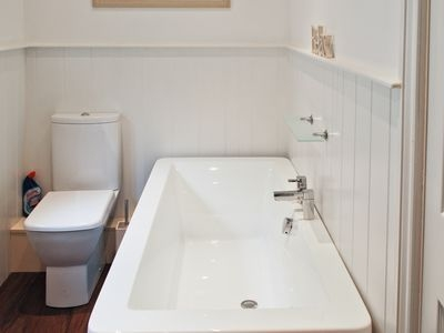 Modern Bath Suite with WC, Basin, Bath and Power Shower